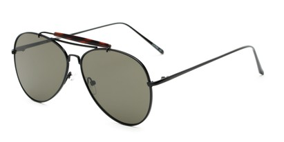 Angle of Bowery #3999 in Black/Tortoise Frame with Green Lenses, Women's and Men's Aviator Sunglasses