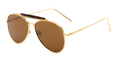 Angle of Bowery #3999 in Gold/Tortoise Frame with Amber Lenses, Women's and Men's Aviator Sunglasses