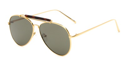 Angle of Bowery #3999 in Gold/Tortoise Frame with Green Lenses, Women's and Men's Aviator Sunglasses