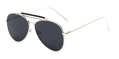 Angle of Bowery #3999 in Silver/Black Frame with Grey Lenses, Women's and Men's Aviator Sunglasses