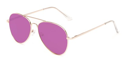 Angle of Reece #4006 in Gold Frame with Purple Mirrored Lenses, Women's and Men's Aviator Sunglasses