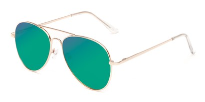 Angle of Reece #4006 in Gold Frame with Green/Blue Mirrored Lenses, Women's and Men's Aviator Sunglasses