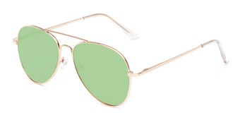 Angle of Reece #4006 in Gold Frame with Green Mirrored Lenses, Women's and Men's Aviator Sunglasses