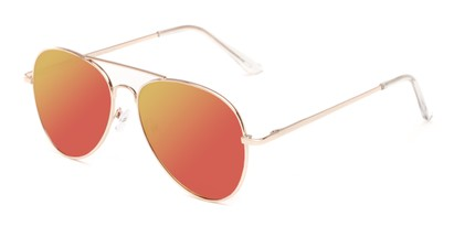 Angle of Reece in Gold Frame with Orange/Yellow Mirrored Lenses, Women's and Men's Aviator Sunglasses