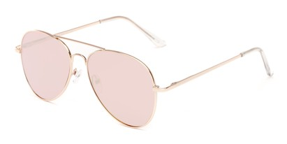 Angle of Reece #4006 in Gold Frame with Pink Mirrored Lenses, Women's and Men's Aviator Sunglasses