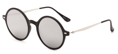 Angle of Bonaire #4017 in Matte Black/Silver Frame with Silver Mirrored Lenses, Women's and Men's Round Sunglasses