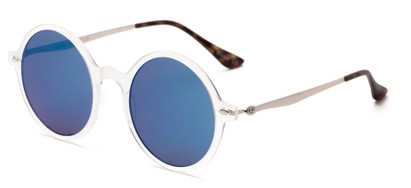 Angle of Bonaire #4017 in Matte Clear/Silver Frame with Blue Mirrored Lenses, Women's and Men's Round Sunglasses