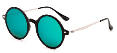 Angle of Bonaire #4017 in Glossy Black/Silver Frame with Blue/Green Mirrored Lenses, Women's and Men's Round Sunglasses