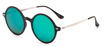 Angle of Bonaire #4017 in Matte Black/Silver Frame with Blue/Green Mirrored Lenses, Women's and Men's Round Sunglasses