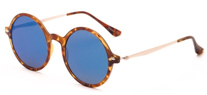 Angle of Bonaire #4017 in Matte Tortoise/Gold Frame with Blue Mirrored Lenses, Women's and Men's Round Sunglasses