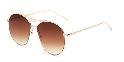 Angle of Sonoma #4082 in Gold Frame with Amber Lenses, Women's Round Sunglasses
