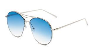Angle of Sonoma #4082 in Silver Frame with Blue Lenses, Women's Round Sunglasses