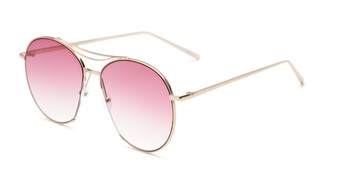 Angle of Sonoma #4082 in Gold Frame with Pink Lenses, Women's Round Sunglasses