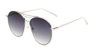 Angle of Sonoma #4082 in Silver Frame with Grey Lenses, Women's Round Sunglasses