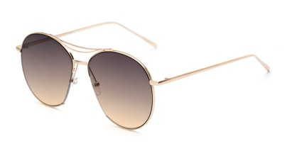 Angle of Sonoma #4082 in Gold Frame with Smoke Lenses, Women's Round Sunglasses