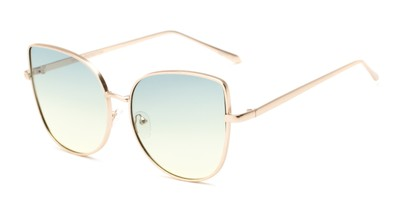 Angle of Dolorosa #4091 in Gold Frame with Blue/Yellow Gradient Lenses, Women's Cat Eye Sunglasses