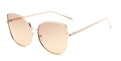 Angle of Dolorosa #4091 in Gold Frame with Amber Gradient Lenses, Women's Cat Eye Sunglasses