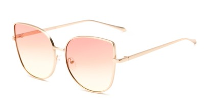 Angle of Dolorosa #4091 in Gold Frame with Pink/Yellow Gradient Lenses, Women's Cat Eye Sunglasses
