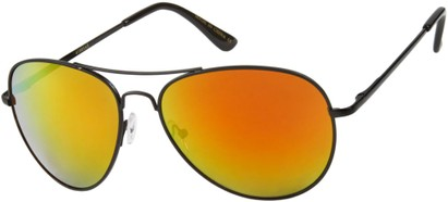 Angle of Alamosa #453 in Black Frame with Orange Mirrored Lenses, Women's and Men's Aviator Sunglasses