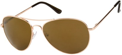 Angle of Alamosa #453 in Gold Frame with Gold Mirrored Lenses, Women's and Men's Aviator Sunglasses