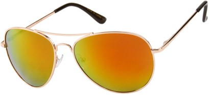 Angle of Alamosa #453 in Gold Frame with Orange Mirrored Lenses, Women's and Men's Aviator Sunglasses