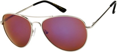 Angle of Alamosa #453 in Silver Frame with Purple Mirrored Lenses, Women's and Men's Aviator Sunglasses