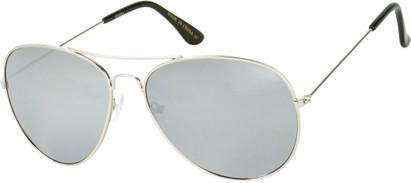 Angle of Alamosa #453 in Silver Frame with Silver Mirrored Lenses, Women's and Men's Aviator Sunglasses