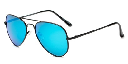 Angle of Cape Cod #4101 in Black Frame with Blue Mirrored Lenses, Women's and Men's Aviator Sunglasses