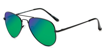 Angle of Cape Cod #4101 in Black Frame with Green/Purple Mirrored Lenses, Women's and Men's Aviator Sunglasses