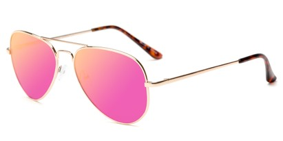 Angle of Cape Cod #4101 in Gold Frame with Pink Mirrored Lenses, Women's and Men's Aviator Sunglasses