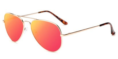 Angle of Cape Cod #4101 in Gold Frame with Red/Orange Mirrored Lenses, Women's and Men's Aviator Sunglasses