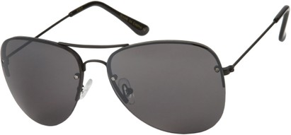 Angle of SW Rimless Aviator Style #89 in Black Frame with Smoke Lenses, Women's and Men's