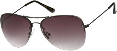 Angle of SW Rimless Aviator Style #89 in Black Frame with Rose Lenses, Women's and Men's