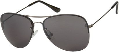 Angle of SW Rimless Aviator Style #89 in Grey Frame with Smoke Lenses, Women's and Men's