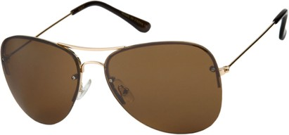 Angle of SW Rimless Aviator Style #89 in Gold Frame with Amber Lenses, Women's and Men's