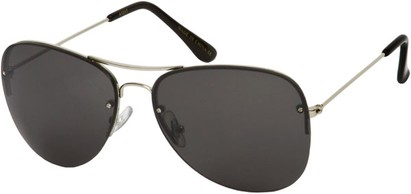 Angle of SW Rimless Aviator Style #89 in Silver Frame with Smoke Lenses, Women's and Men's