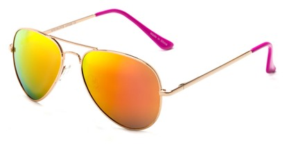 Angle of Cape Cod #4101 in Gold Frame with Orange Mirrored Lenses, Women's and Men's Aviator Sunglasses