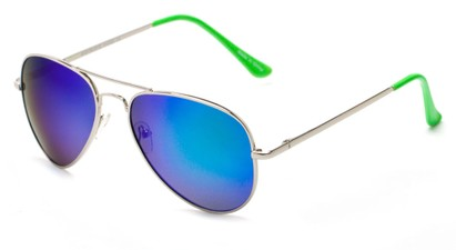 Angle of Cape Cod #4101 in Silver Frame with Blue/Green Mirrored Lenses, Women's and Men's Aviator Sunglasses
