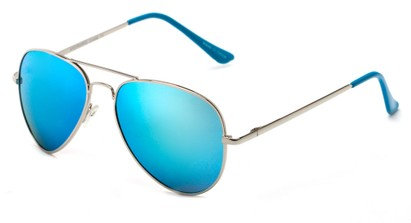 Angle of Cape Cod #4101 in Silver Frame with Light Blue Mirrored Lenses, Women's and Men's Aviator Sunglasses
