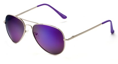 Angle of Cape Cod #4101 in Silver Frame with Purple Mirrored Lenses, Women's and Men's Aviator Sunglasses