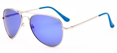 Angle of Cape Cod #4101 in Silver Frame with Purple/Blue Mirrored Lenses, Women's and Men's Aviator Sunglasses