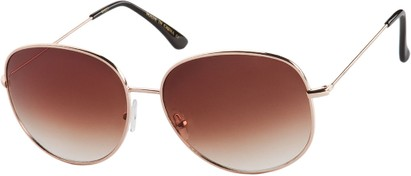 Angle of Kalahari #8872 in Gold Frame with Amber Lenses, Women's and Men's Round Sunglasses