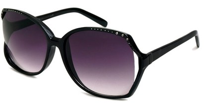 Angle of Echo #1022 in Black Frame, Women's Square Sunglasses