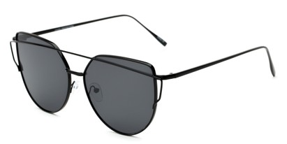 Angle of Mandelin #4112 in Black Frame with Grey Lenses, Women's Cat Eye Sunglasses