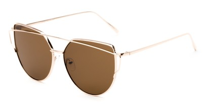 Angle of Mandelin #4112 in Gold Frame with Amber Lenses, Women's Cat Eye Sunglasses