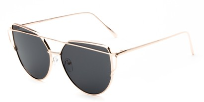 Angle of Mandelin #4112 in Gold Frame with Grey Lenses, Women's Cat Eye Sunglasses