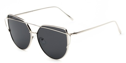 Angle of Mandelin #4112 in Silver Frame with Grey Lenses, Women's Cat Eye Sunglasses