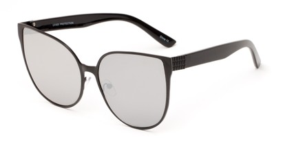 Angle of Leilani #4130 in Black Frame with Silver Mirrored Lenses, Women's Cat Eye Sunglasses