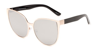 Angle of Leilani #4130 in Gold/Black Frame with Silver Mirrored Lenses, Women's Cat Eye Sunglasses