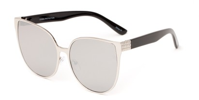Angle of Leilani #4130 in Silver/Black Frame with Silver Mirrored Lenses, Women's Cat Eye Sunglasses